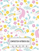 Composition Notebook Kids: Dotted Midline and Picture Space 100 Story Pages Cute Unicorn Cover