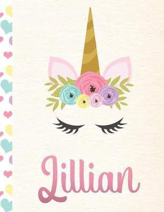 Lillian: Personalized Unicorn Primary Handwriting Notebook For Girls With Pink Name - Dotted Midline Handwriting Practice Paper