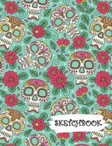 Sketchbook: Pink Flowers Sugar Skull Day of Dead Fun Framed Drawing Paper Notebook