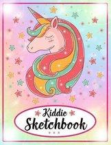 Kiddie Sketchbook: Cute Unicorn On Star - Large Blank Sketchbook For Girls - Kids Drawing Books For Sketching, Doodling & Crayon Coloring