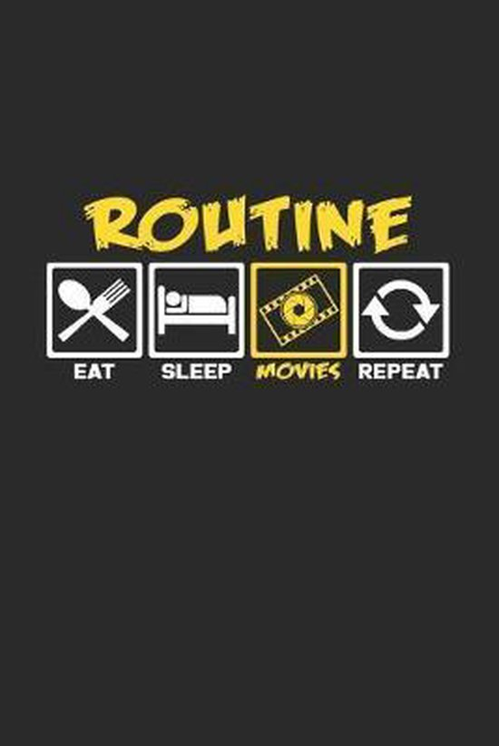 Routine Movies eat sleep repeat: 6x9 Movies - dotgrid - dot grid paper - notebook - notes