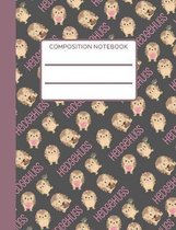 Hedgehog: Composition Notebook, Collage Ruled, Sweet Hedgehog Notebook, Perfect For School Notes