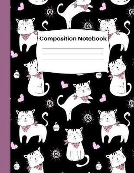 Composition Notebook: Wide Ruled School Home Office Teacher Student 100 Pages - Lovely Playing Kitty Cat Black Notebook (School Composition