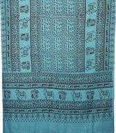 Meditatie omslagdoek met mantra Maha, natuurvezel, XL, 220 x 106 cm, turquoise, vegan
