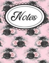 Pink and Black Floral Gothic Notebook: Elegant Floral Notebook for Her