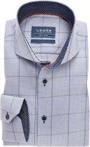 Ledub slim fit geruit overhemd grijs, maat 37