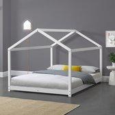 Kinderbed twijfelaar huisbed met lattenbodem 120x200 cm wit