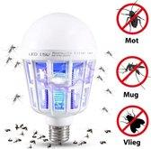 2 in 1 Anti muggen / insecten lamp - fitting E27 - 15W LED en UV-licht afzonderlijk aan te zetten - vliegende insecten verdelger - muggenlamp - vliegenlamp - mosquito killer - zapper