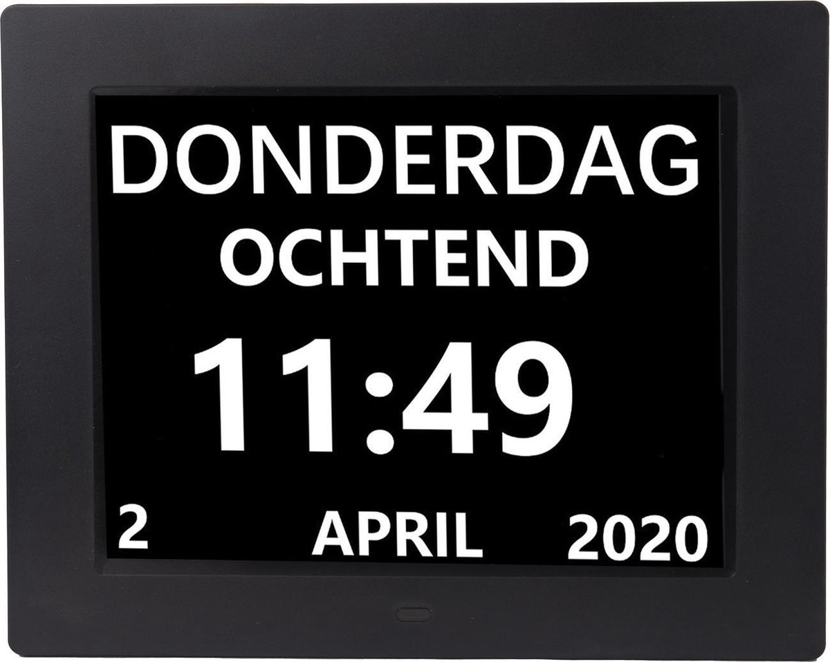 digitale klok/kalender met datum, tijd en alarm/ ochtend, middag en avond aanduiding/ zwart dementie