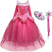 Prinsessenjurk roze maat 110/116 (120)+ gratis kroon en toverstaf - Verkleedkleding kind - Frozen jurk