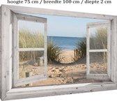 Buitencanvas op houten frame gespannen - 75x100x2 cm - Wit venster met Duinovergang - tuin decoratie - tuinposter - tuinschilderij voor buiten