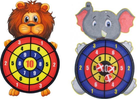 Afbeelding van het spel 2 stuks kinder dartbord met ballen Leeuw en Olifant