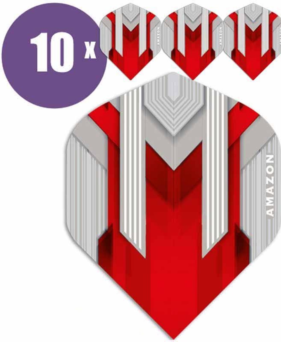 ABC Darts Flights - Amazon silver Rood - 10 sets (30 st.) Dart Flights