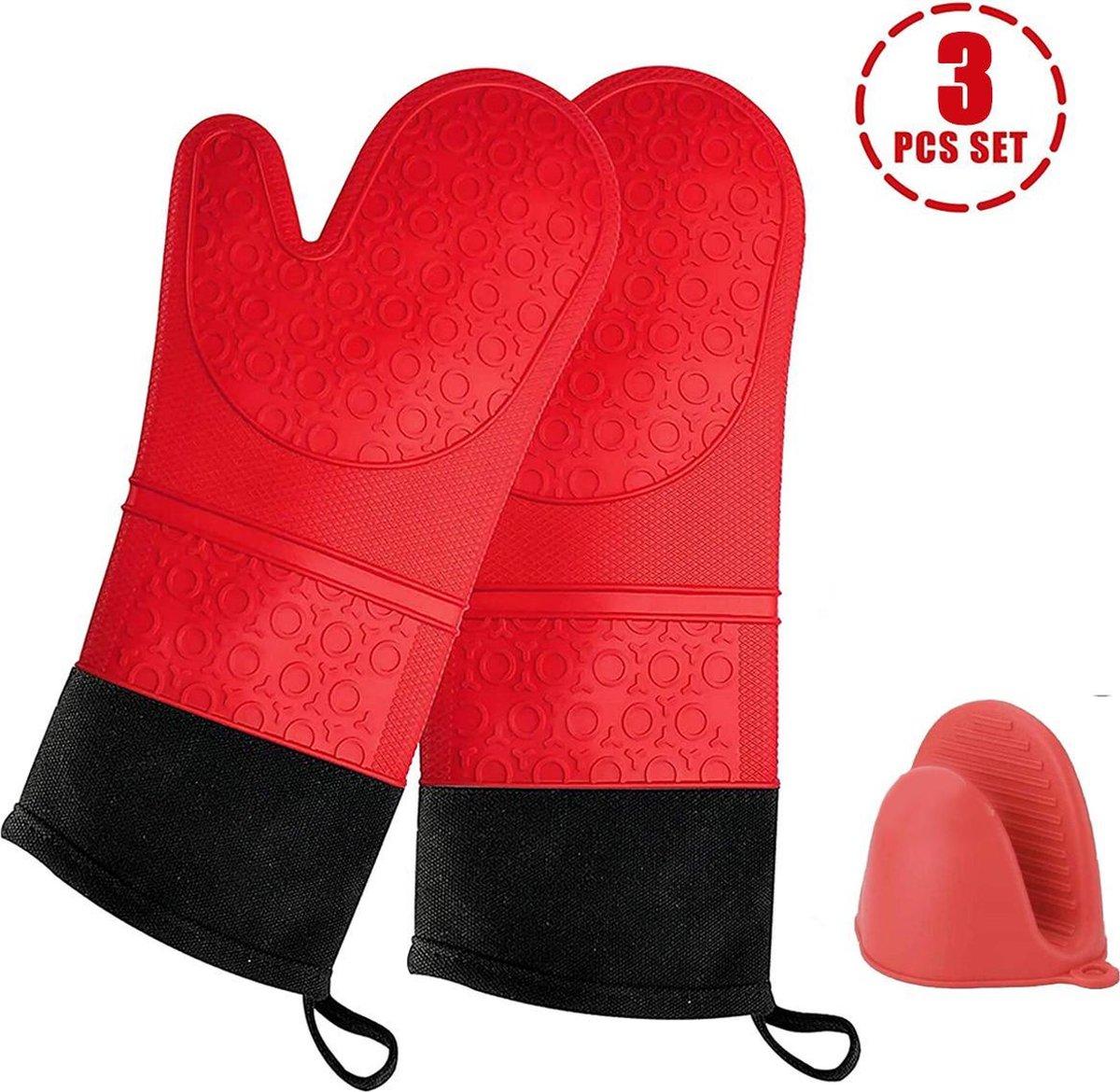 SWILIX ® Ovenwanten 2 stuks - Ovenhandschoenen - Siliconen Ovenwant - BBQ handschoen - Extra Lang -