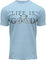 Fox Originals Life is Good T-shirt Essentials Heren & Dames  Katoen Blauw Maat XL
