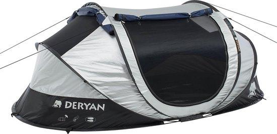 Deryan Luxe Cocoon Pop Up Tent - Anti-UV 50+ 2 Seconds - Zilver/ Zwart - 2 Persoons
