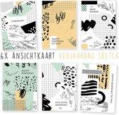 Kimago.nl - wenskaarten - kaartenset - ansichtkaarten - Verjaardag - sketch - 6 stuks