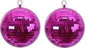 4x Fuchsia roze disco spiegelballen kerstballen 10 cm - Kerstboomversiering/kerstversiering discobollen/discoballen