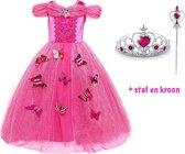 Prinsessen jurk fel roze verkleedjurk maat 104/110 (110) + gratis toverstaf en kroon + vlinders - Prinsessenjurk - Verkleedjurk kind