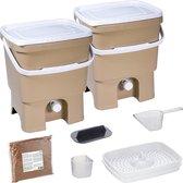 Skaza Bokashi Organko keukencompostbak van gerecycled plastic | 2x 16 L | Starter Set voor keukenafval en compostering | met EM zemelen 1 kg | Bruin beige