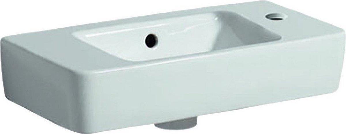 Geberit Renova Compact wastafel compact met kraangat rechts met overloop 50x25x15cm m. afleg wit