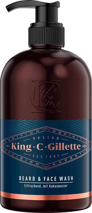 King C. Gillette Baardshampoo en wasgel met kokoswater, Arganolie en Avocado-olie (350 ml)