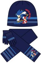 Sonic the Hedgehog - sjaal - muts - wanten - BLAUW - maat 52 cm