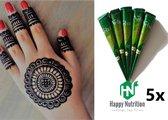5 X Stuks  Henna Tattoo - Tijdelijke Tatoeage - Festival Tattoe - Zomer feest tatoeage's - Festival Tattoo - Neptattoo - Henna Tattoo inkt pasta 5 cones 5 tubes 25 Gram/tube - Natuurlijke Kruiden - Henna pasta - 25 gr/tube