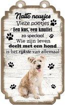 Hollandse Smoushond. Houten tekstbordje met hond 20 x 12 cm
