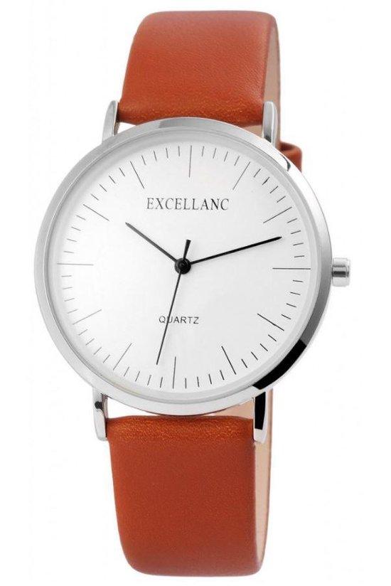 Excellanc trendy unisex horloge met bruine band