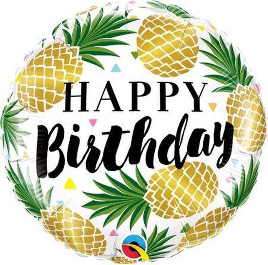 Folie cadeau sturen helium gevulde ballon Gefeliciteerd/Happy Birthday ananas 45 cm - Folieballon verjaardag versturen/verzenden