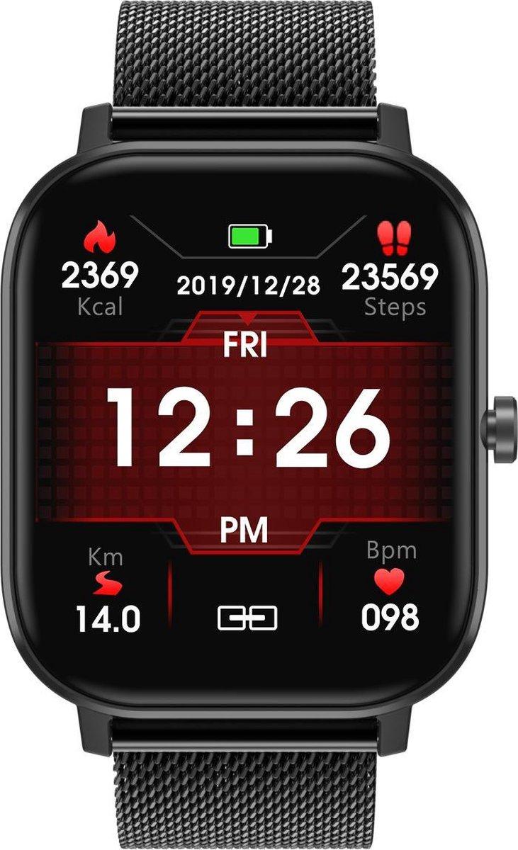 Belesy® Detroit - Met Belfunctie - Nederlandstalige Handleiding - Smartwatch Dames - Smartwatch Heren - Horloge - 1.54 inch - Kleurenscherm - Full Touch - Stappenteller - Multi Sport - Multi Watchfaces - Staal - Zwart - NL kopen