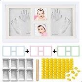 AWEMOZ® Luxe Baby Fotolijst – Gipsafdruk Baby – Kraamcadeau – Baby Art - 3D Collage – Extra klei, letters, cijfers & roller