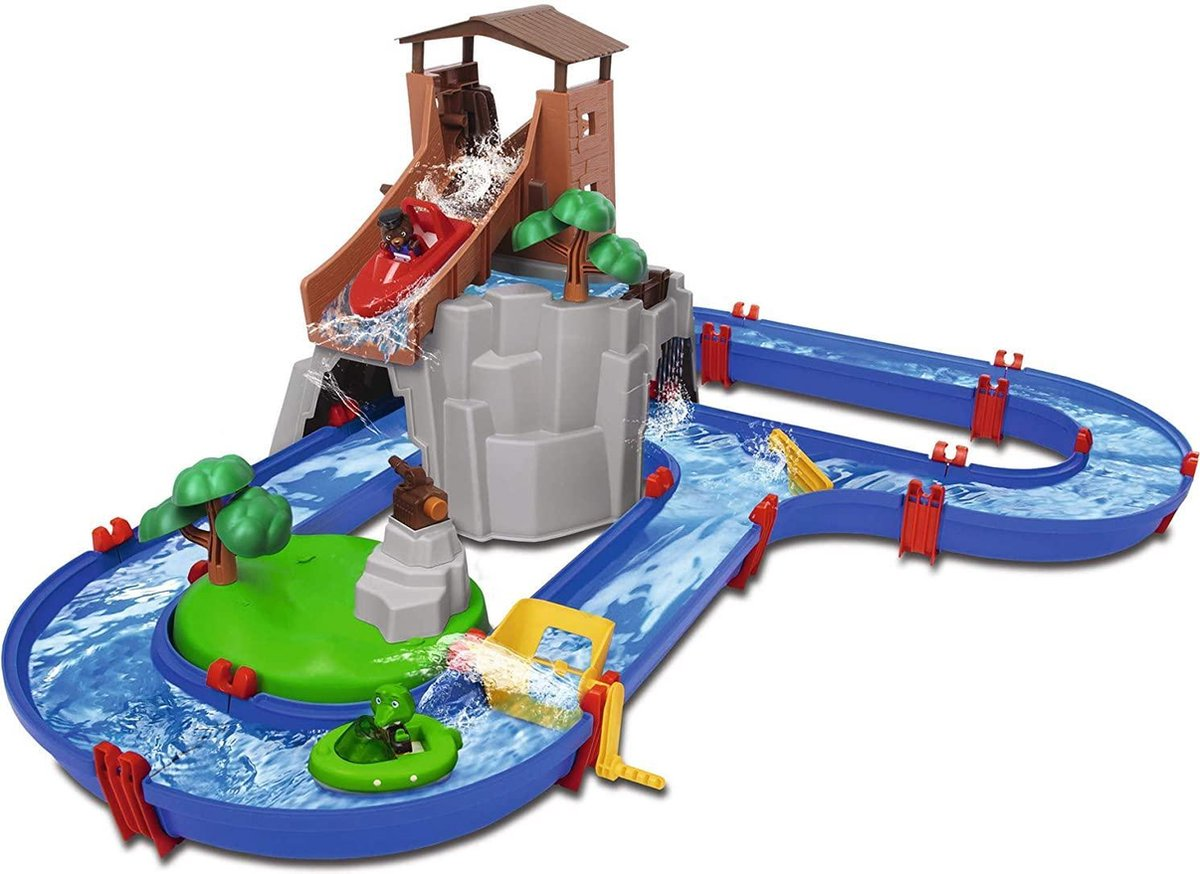 Watertafel, Waterpark, Adventureland waterbaan met berg, toren en bergmeer, speelset incl. 2 dierenfiguren, motorboot en speedboot, voor kinderen vanaf 3 jaar