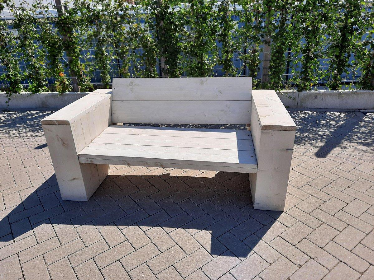 """Loungebank """"Garden"""" van steigerhout - Lounge Zetel - White Wash steigerhout - 180cm - Steigerhouten bank - Zitbank van hout - Terrasbank - Robuuste tuinbank - Voor binnen en buiten - 3 persoons bank - Weersbestendig kopen"""