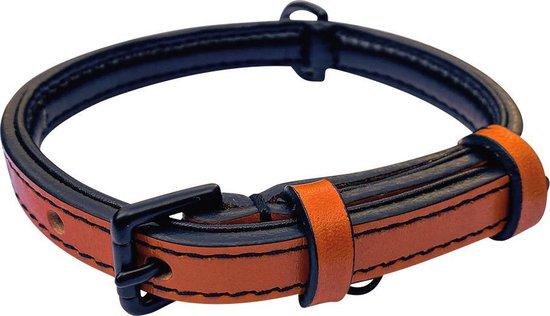 Brute Strength - Luxe leren halsband hond - Oranje - S - 41 x 1,5 cm - leren hals band