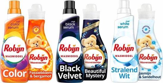 Robijn Kleur, Wit en Zwart Wasmiddel en Wasverzachter - 3 x 20 en 3 x 30 wasbeurten - Voordeelverpakking