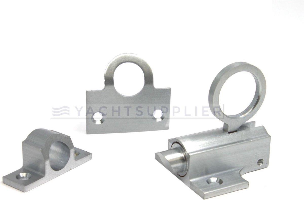 Raamknip - Messing mat chroom - Inclusief sluitbeugel en sluitplaat