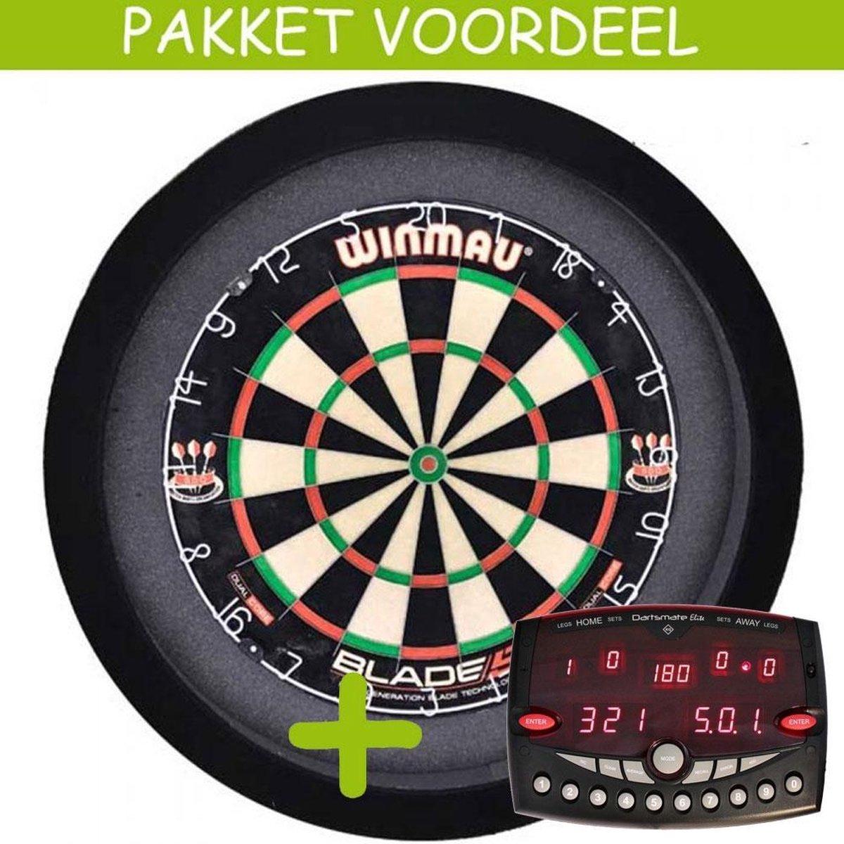 Elektronisch Dart Scorebord VoordeelPakket (Elite ) - Blade 5 - Dartbordverlichting Basic (Zwart)