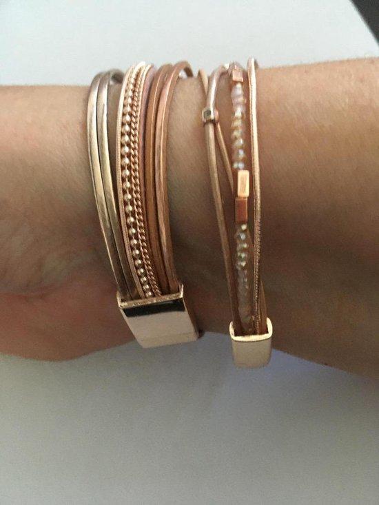 - Armbandenset leer rose goud met magneetsluiting (007)
