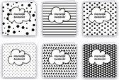 Bedankkaarten - Set van 6 x gevouwen bedankkaart - 14 cm x 14 cm - Inclusief envelop