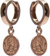 Karma 925 Sterling Zilveren Hinge Hoops Roségoudkleurige Coin Oorbellen  - Roségoud