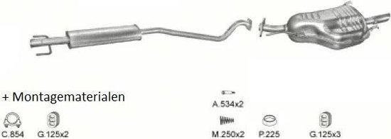 Complete Uitlaat Opel Astra G 1.4 16V 1.6 8V. (Set71)