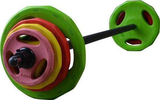 Bodypumpset RS Sports 130 - Halterset - 40 kg - Groen/Geel/Roze