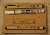 Oefenblok Handlettering  wit/recyling bruin en zwart A6 + 3 handlettering pennen