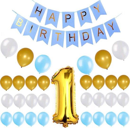 Ballonnen set 1 Blauw/Goud/Wit