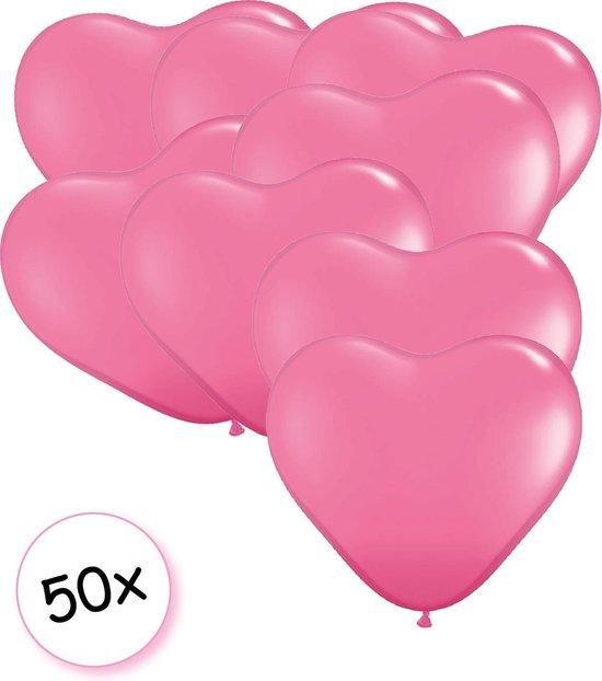 Ballonnen hartjes roze 50 stuks 26 cm