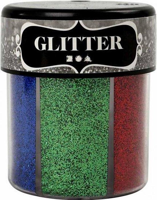 Potje glitters met felle kleuren