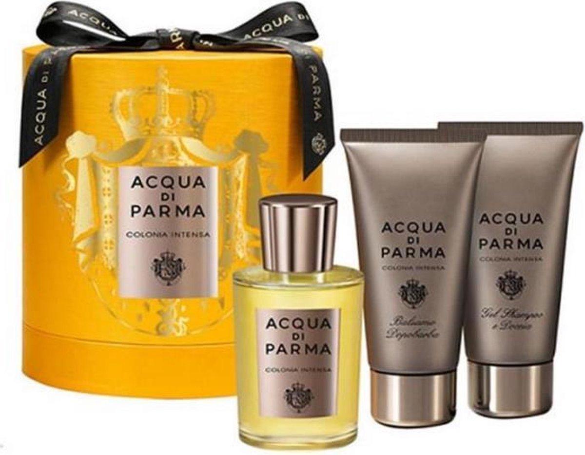 Acqua Di Parma Intensa - Geschenkset - Eau de cologne spray 100ml + Shower gel 75ml + After shave balm 75ml - Nuxe