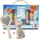 Foam Clay Cadeauset met Spaarpot Poes en Handspiegel Hart